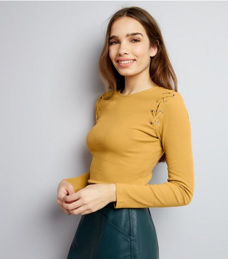 Yellow Lattice Shoulder Long Sleeve Top | New Look