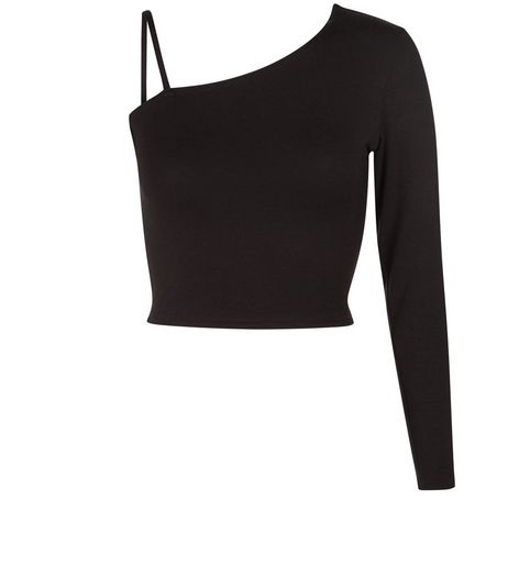 Teens One Shoulder Long Sleeve Crop Top | New Look