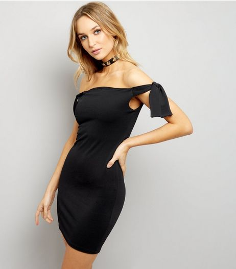 Black Tie Sleeve Bardot Neck Bodycon Dress | New Look