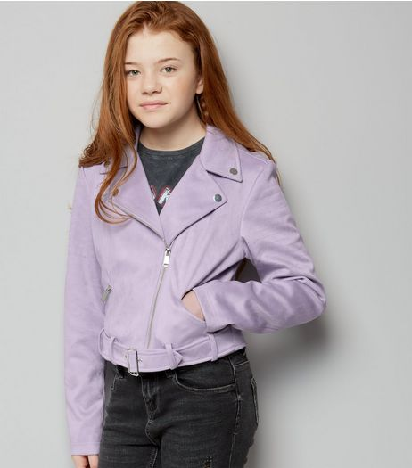 Lilac Suedette Biker Jacket  | New Look