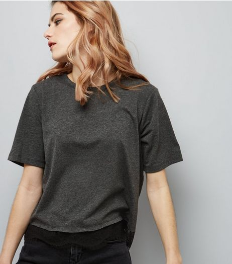 Dark Grey Lace Hem T-Shirt | New Look
