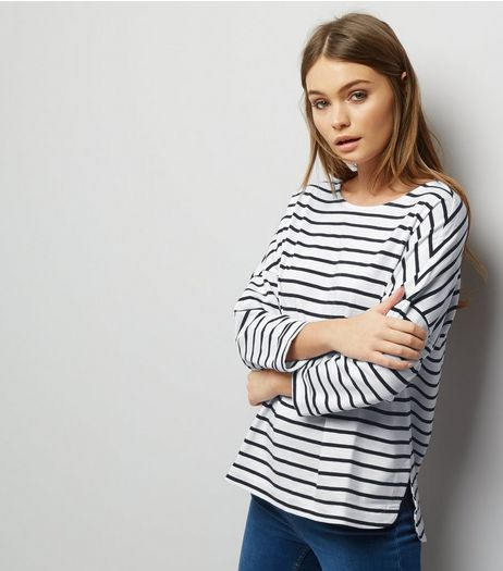 Blue Organic Cotton Slouch Stripe 3/4 Sleeve Top  | New Look
