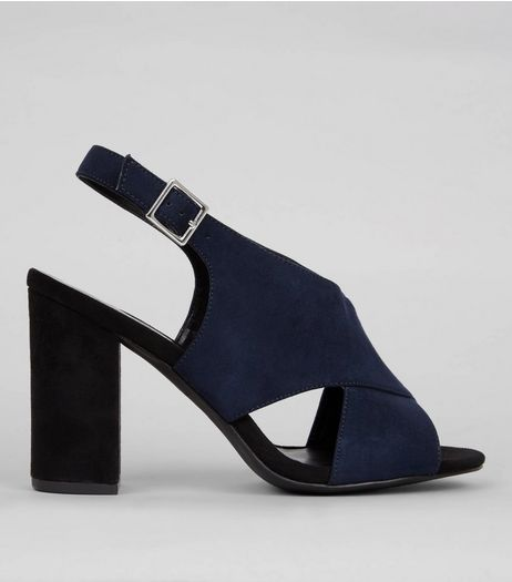 Wide Fit Navy Suedette Contrast Block Heels | New Look