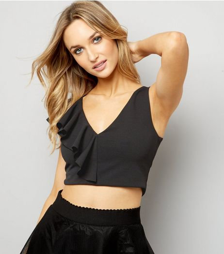 Black Asymmetric Frill Trim Crop Top | New Look