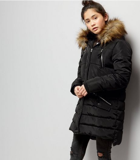 Teens Black Faux Fur Trim Hooded Puffer Jacket | New Look