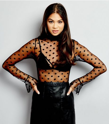 Black Mesh Spot Print Funnel Neck Bodysuit  | New Look
