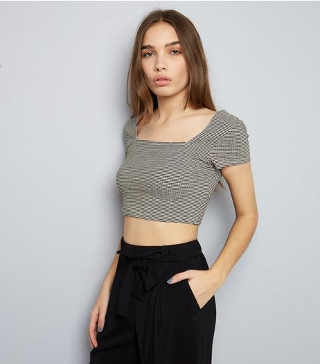 Black Stripe Square Neck Crop Top | New Look
