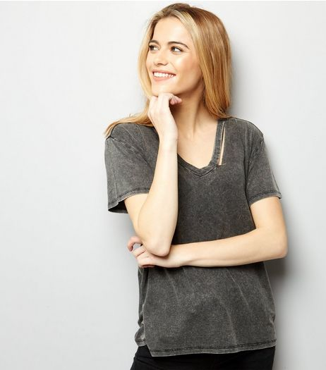 Black Cut Out Trim T-Shirt  | New Look
