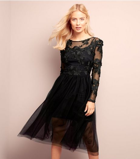 Black Floral Lace Tulle Prom Dress | New Look