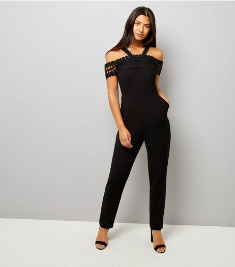 Black Crochet Lace Trim Jumpsuit | New Look