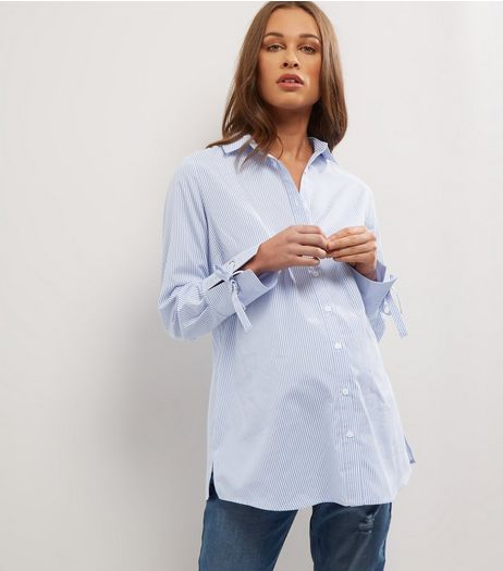 Maternity Blue Stripe Tie Sleeve Shirt  | New Look