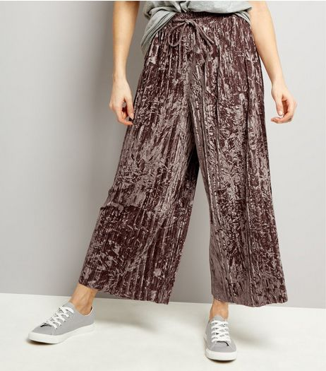 Purple Velvet Plisse Wide Leg Trousers | New Look
