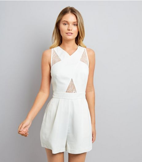 White Lace Insert Cross Front Playsuit | New Look