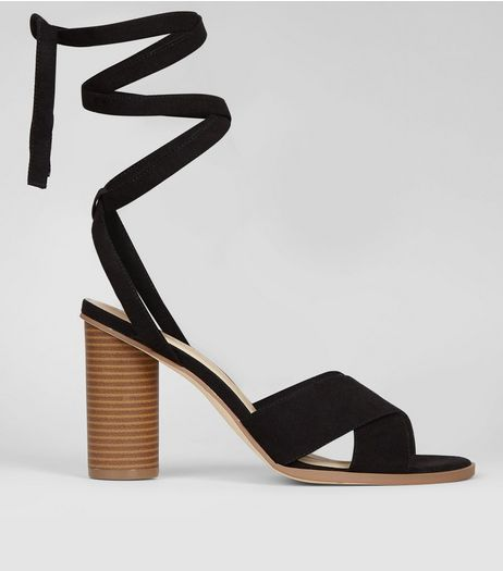 Black Suedette Tie Up Contrast Heeled Sandals | New Look