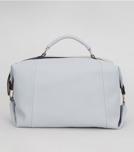 Pale Blue Leather-Look Bowler Bag  | New Look