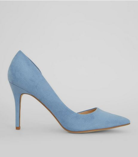 Light Blue Suedette Pointed Court Shoes | New Look