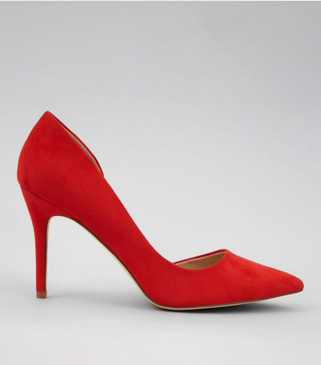 Red Suedette Pointed Heels  | New Look