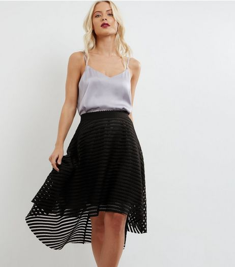 Black Mesh Stripe Dip Hem Skirt | New Look
