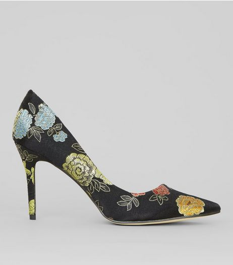 Black Floral Brocade Pointed Heels | New Look