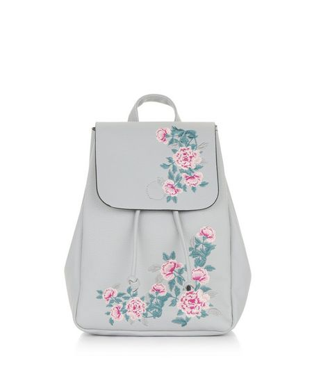 Grey Floral Embroidered Mini Backpack | New Look