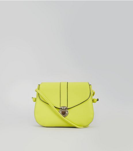 Neon Green Mini Saddle Bag | New Look