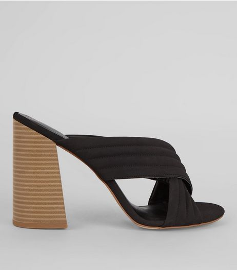 Black Cross Strap Block Heeled Mules | New Look