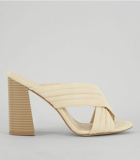Mink Cross Strap Block Heeled Mules | New Look
