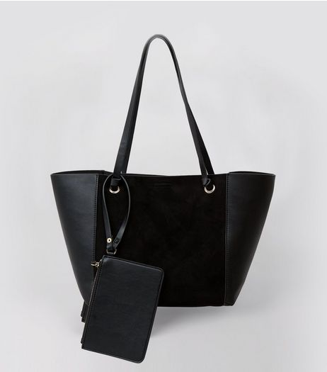 Black Suedette Panel Tote Bag  | New Look