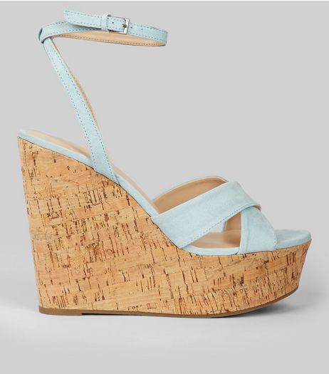 Blue Suedette Cork Wedge Heels | New Look