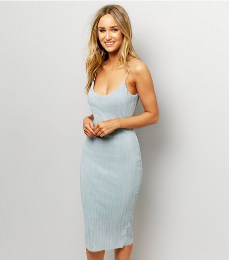 Mint Green Pleated Midi Slip Dress  | New Look