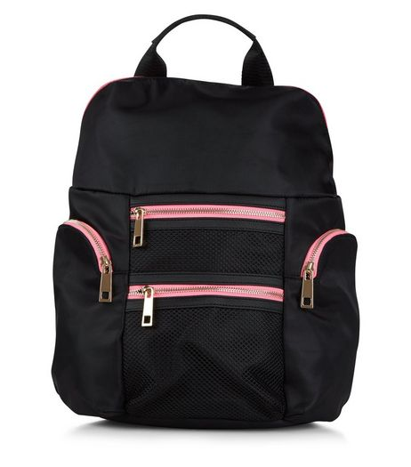 Black Neon Zip Trim Backpack  | New Look