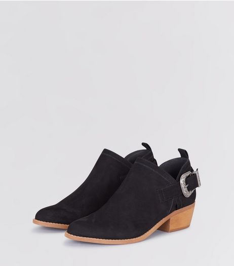 Black Suedette Buckle Side Low Heel Ankle Boots | New Look