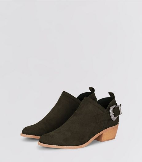 Green Suedette Buckle Side Low Heel Ankle Boots | New Look