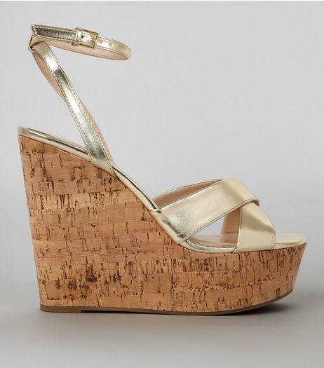 Gold Cross Strap Cork Wedge Heels | New Look