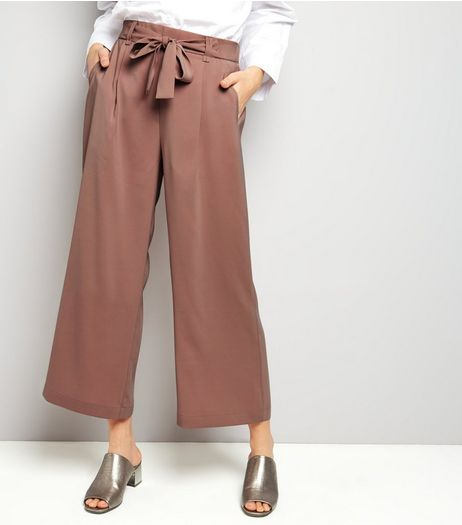 Tall Pink Tie Waist Cropped Trousers | New Look