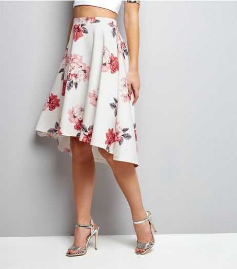 White Floral Dip Hem Midi Skirt | New Look