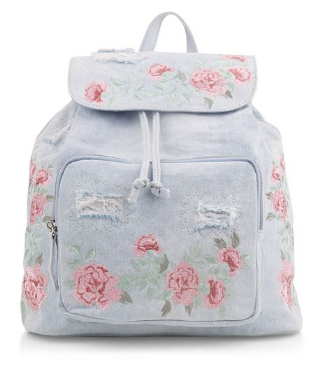 Light Blue Denim Embroidered Backpack | New Look