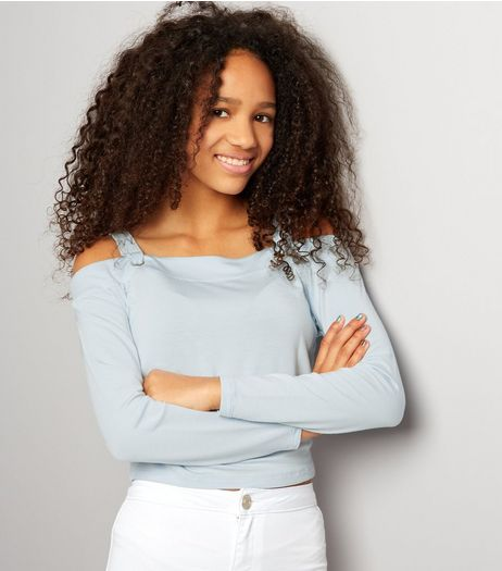 Teens Pale Blue Eyelet Trim Cold Shoulder Crop Top  | New Look