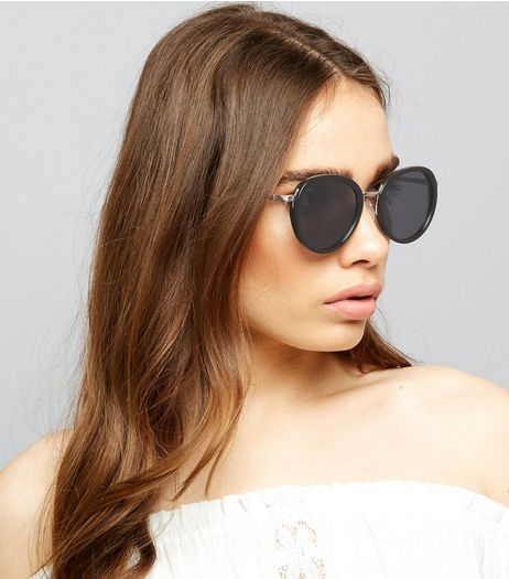 Black Round Lense Sunglasses | New Look