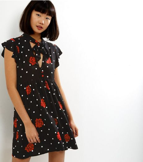 Motel Black Floral Spot Print Tie Neck Dress  | New Look