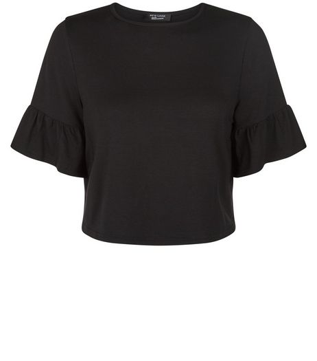 Teens Black Frill Sleeve Crop Top | New Look