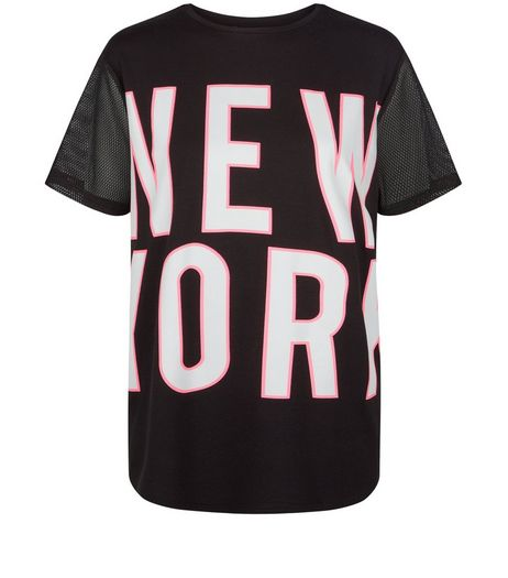 Teens Black Mesh Sleeve NYC Boyfriend T-shirt | New Look