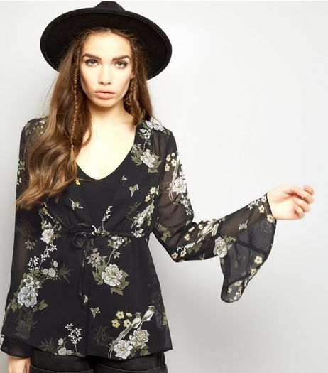 Black Chiffon Floral Print Bell Sleeve Tie Front Top  | New Look