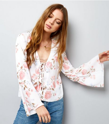 White Floral Print Lattice Front Bell Sleeve Top | New Look