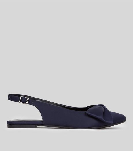 Navy Satin Pointed Bow Front Sling Back Pumps | New Look