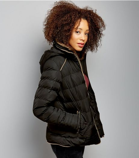 QED Black Faux Fur Trim Puffer Jacket  | New Look