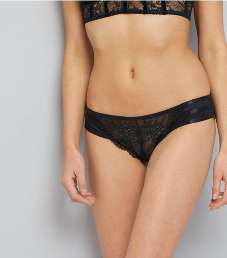 Black Lace Strappy Back Brazilian Briefs | New Look
