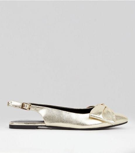 Gold Patent Bow Front Sling Back Sandals  | New Look