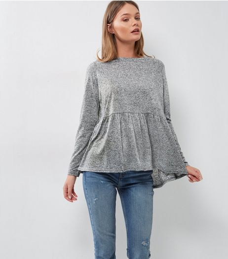 Grey Fine Knit Frill Peplum Top | New Look