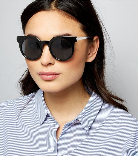 Black Round Cat Eye Sunglasses | New Look
